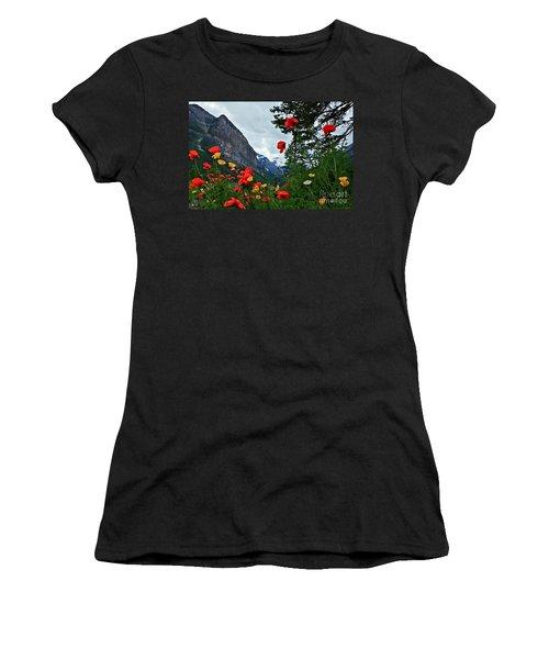 Peaks And Poppies Women's T-Shirt (Junior Cut) by Linda Bianic