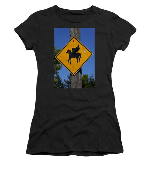 Pegasus Road Sign Women's T-Shirt (Athletic Fit)