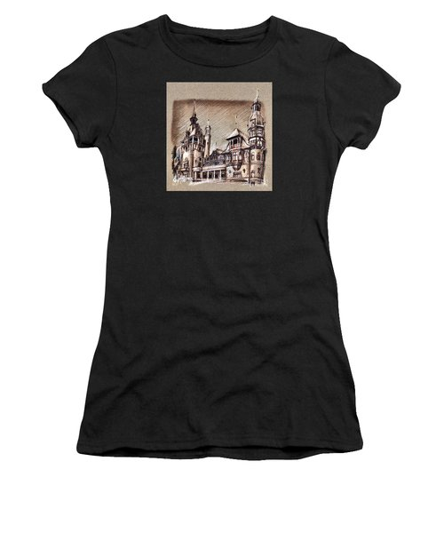 Peles Castle Romania Drawing Women's T-Shirt (Athletic Fit)