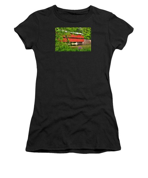 Pennsylvania Country Roads - Sachs Covered Bridge Over Marsh Creek-3b - Shade Of Spring Adams County Women's T-Shirt (Athletic Fit)