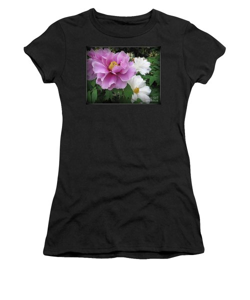 Peonies In White And Lavender Women's T-Shirt (Junior Cut) by Dora Sofia Caputo Photographic Art and Design