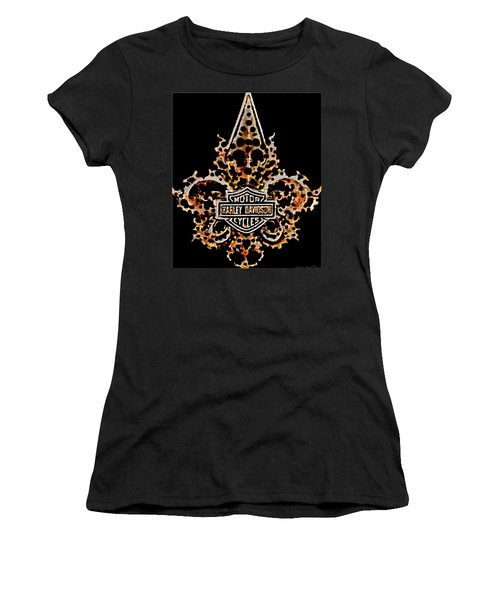 Perforated Fleurs De Lys With Harley Davidson Logo Women's T-Shirt