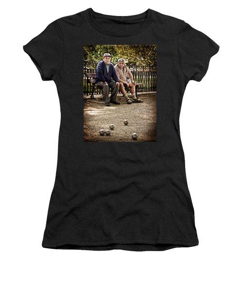 Women's T-Shirt featuring the photograph Petanque Match / Brive La Gaillarde by Barry O Carroll