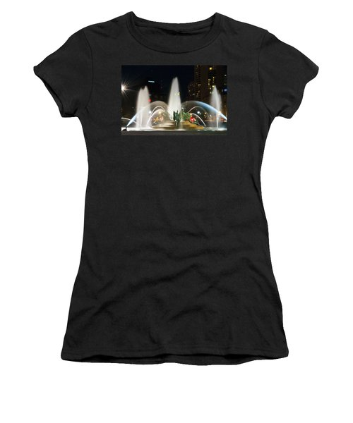 Women's T-Shirt featuring the photograph Philadelphia - Swann Fountain - Night by Bill Cannon