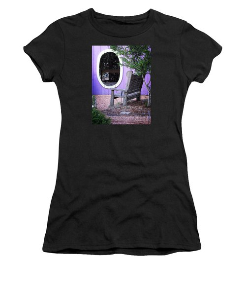 Women's T-Shirt (Junior Cut) featuring the photograph Picture Perfect Garden Bench by Ella Kaye Dickey