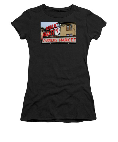 Pike Place Farmers Market Sign Women's T-Shirt (Athletic Fit)