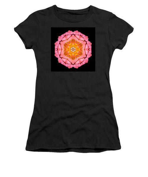 Pink And Orange Rose I Flower Mandala Women's T-Shirt