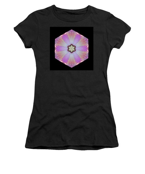 Pink And White Hibiscus Moscheutos I Flower Mandala Women's T-Shirt