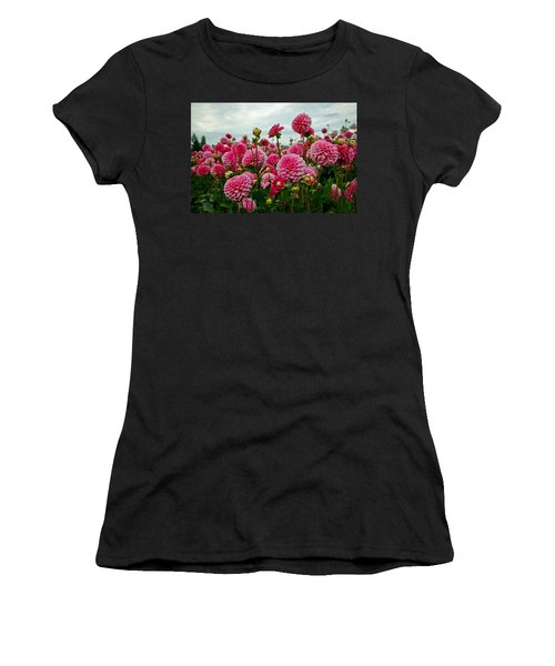 Pink Dahlia Field Women's T-Shirt (Athletic Fit)