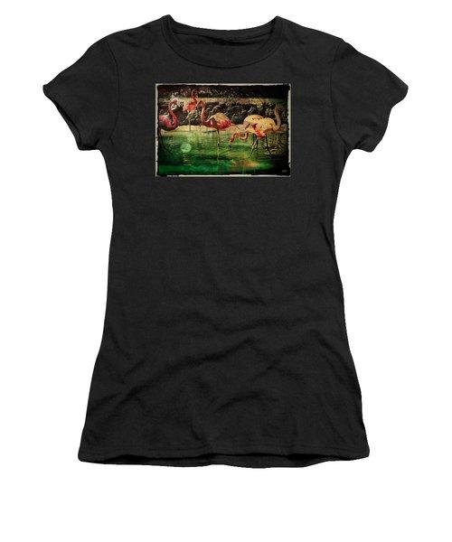 Women's T-Shirt (Junior Cut) featuring the digital art Pink Flamingos - Shangri-la by Absinthe Art By Michelle LeAnn Scott
