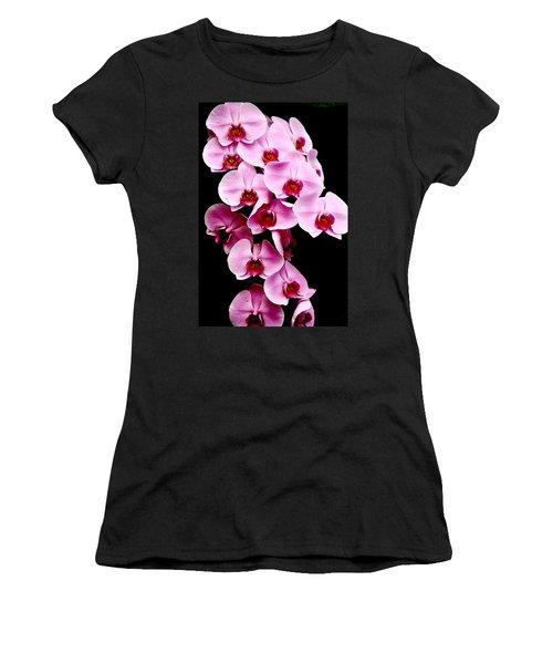Pink Orchid Women's T-Shirt (Junior Cut) by Menachem Ganon