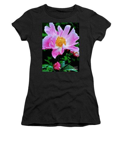 Pink Peony Garden  Women's T-Shirt (Junior Cut) by Carol F Austin