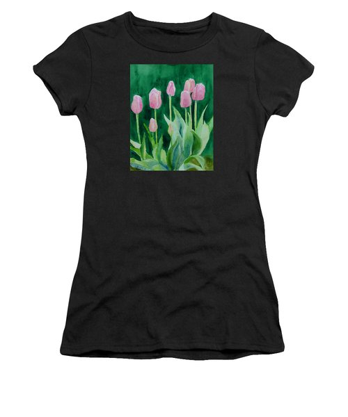Pink Tulips Colorful Flowers Garden Art Original Watercolor Painting Artist K. Joann Russell Women's T-Shirt (Athletic Fit)
