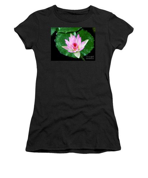 Women's T-Shirt (Junior Cut) featuring the photograph Pink Waterlily Flower by David Lawson