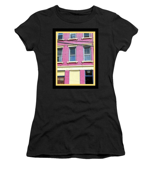 Women's T-Shirt (Junior Cut) featuring the photograph Pink Yellow Blue Building by Kathy Barney