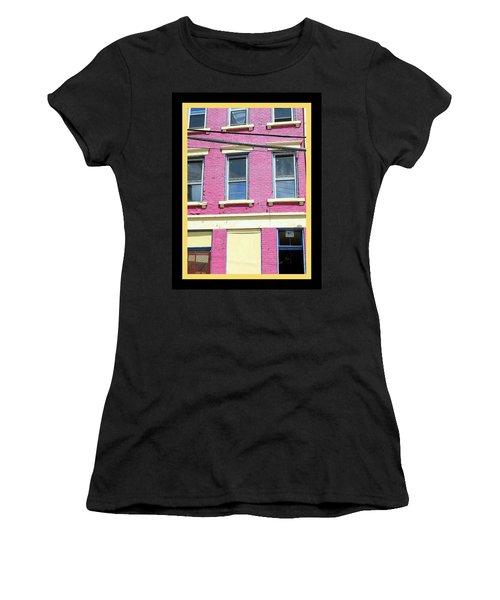 Pink Yellow Blue Building Women's T-Shirt (Junior Cut) by Kathy Barney