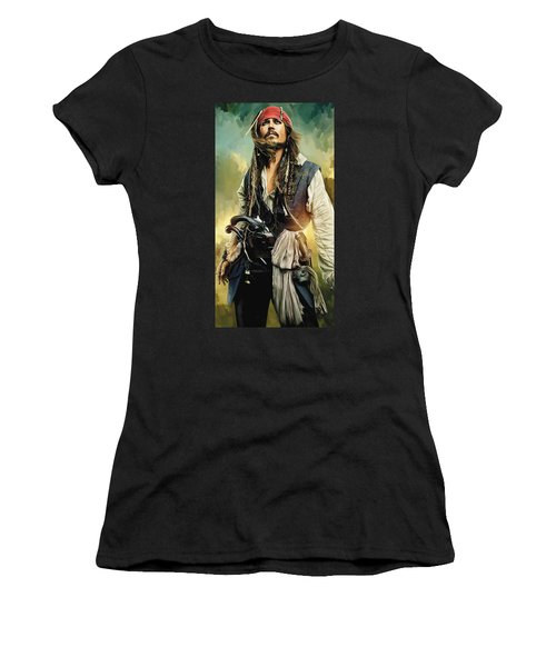 Pirates Of The Caribbean Johnny Depp Artwork 1 Women's T-Shirt (Junior Cut) by Sheraz A