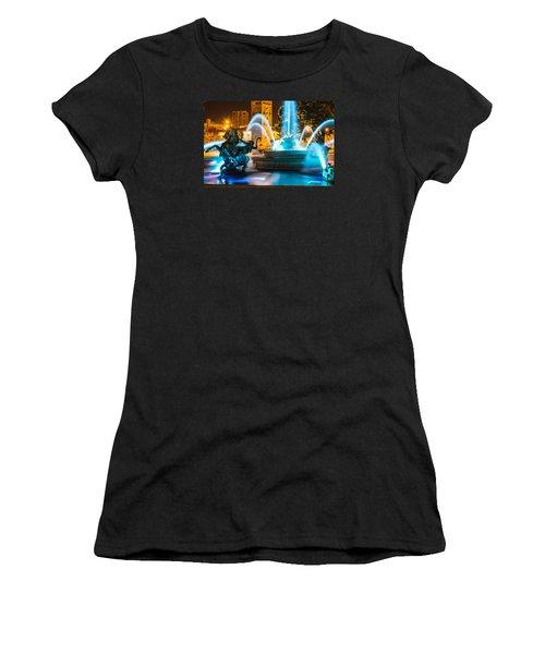 Plaza Blue Fountain Women's T-Shirt (Junior Cut) by Steven Bateson