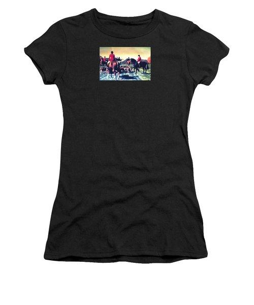 Women's T-Shirt (Junior Cut) featuring the photograph Plum Run Hunt Opening Day by Angela Davies