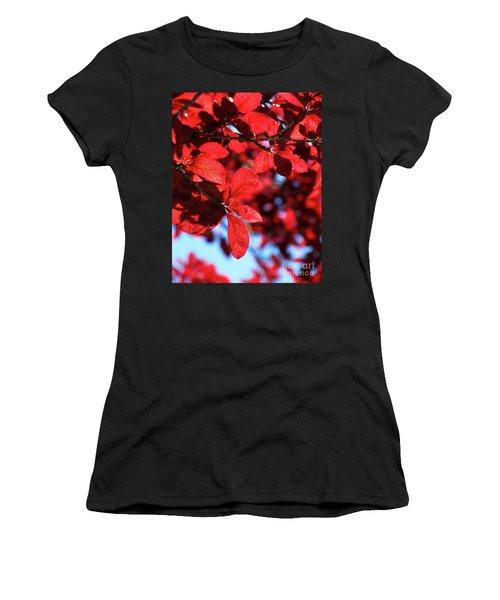 Women's T-Shirt (Junior Cut) featuring the photograph Plum Tree Cloudy Blue Sky 2 by CML Brown