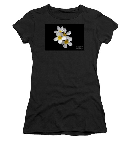 Women's T-Shirt (Junior Cut) featuring the photograph Plumerias Isolated On Black Background by David Millenheft