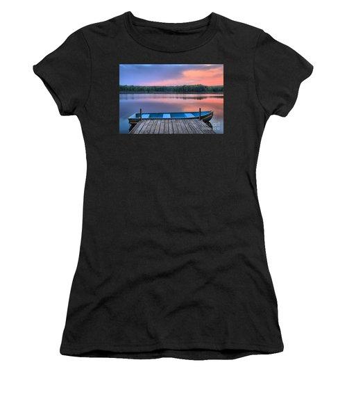 Poconos Lake Whitney Sunset Rowboat Women's T-Shirt