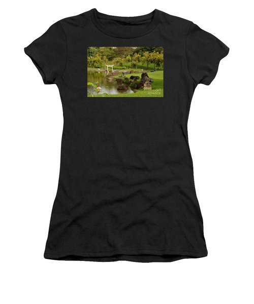 Pond Rocks Grass And Japanese Arch Singapore Women's T-Shirt