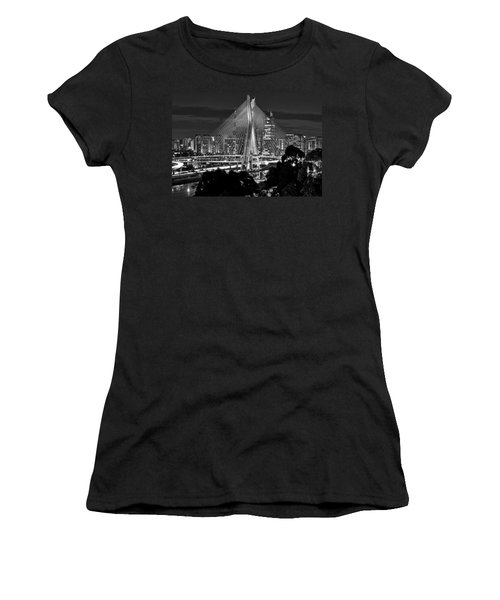 Sao Paulo - Ponte Octavio Frias De Oliveira By Night In Black And White Women's T-Shirt (Athletic Fit)