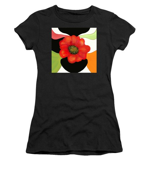 Pop Poppy Women's T-Shirt (Junior Cut) by Christine Fournier