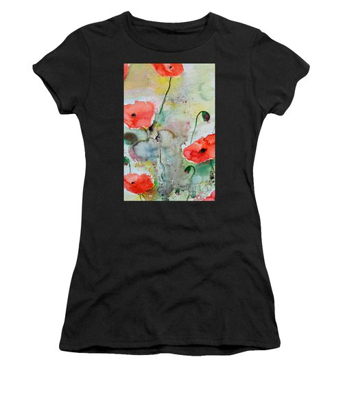Poppies - Flower Painting Women's T-Shirt (Athletic Fit)