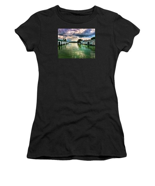 Storm Clouds Over  Port Royal Boathouses In Naples Women's T-Shirt