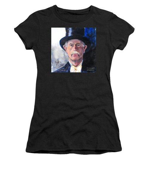 Women's T-Shirt (Junior Cut) featuring the painting Portrait Of A Man In Top Hat by Greta Corens