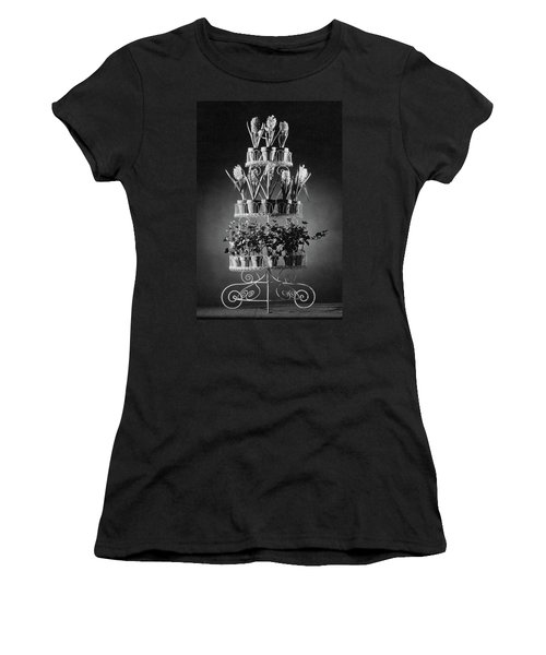 Potted Flowers On A Wrought Iron Stand Women's T-Shirt