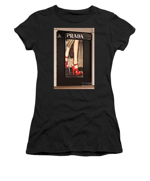 Prada Red Shoes Women's T-Shirt (Athletic Fit)