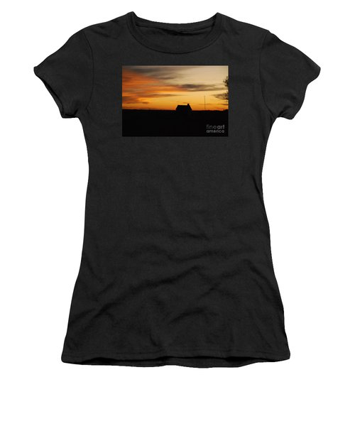 Women's T-Shirt (Junior Cut) featuring the photograph Prairie Sunset by Mary Carol Story