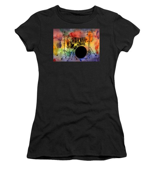Psychedelic Drum Set Women's T-Shirt (Athletic Fit)