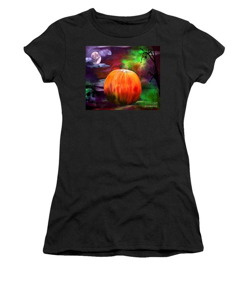 Pumpkin Skull Spider And Moon Halloween Art Women's T-Shirt (Athletic Fit)