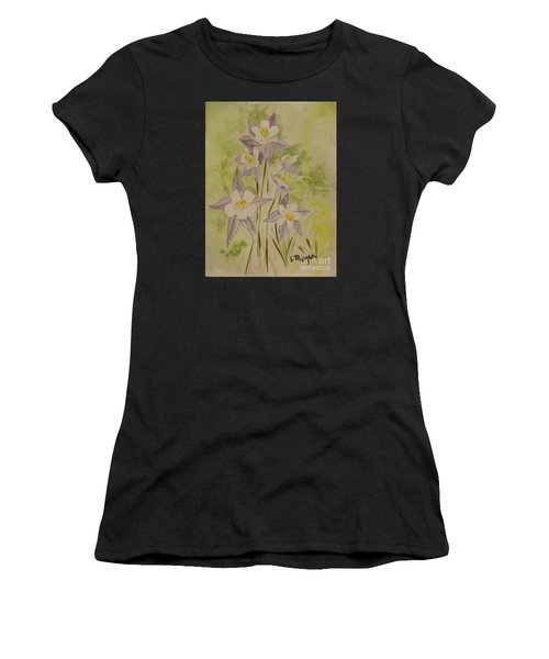 Purple And White Columbines Women's T-Shirt