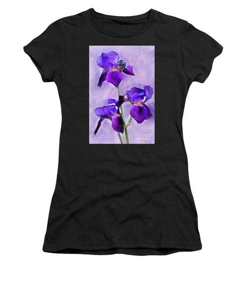Purple Irises - Painted Women's T-Shirt (Athletic Fit)