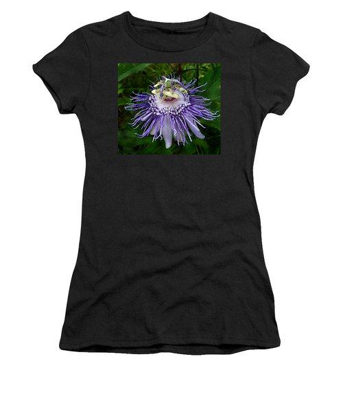 Purple Passionflower Women's T-Shirt (Athletic Fit)