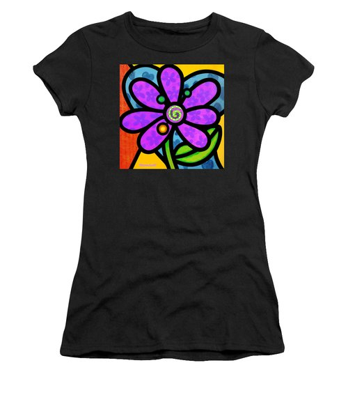 Purple Pinwheel Daisy Women's T-Shirt (Athletic Fit)