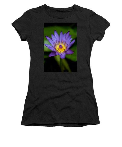 Purple Water Lily Women's T-Shirt (Junior Cut) by Pamela Walton