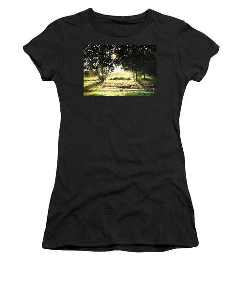 Women's T-Shirt (Junior Cut) featuring the photograph Quarry Lakes Sunrise by Ellen Cotton