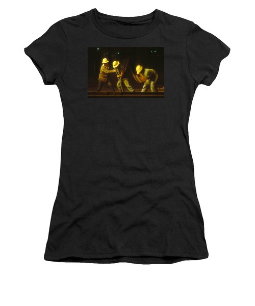 Women's T-Shirt (Junior Cut) featuring the photograph Railroad Workers by Mark Greenberg