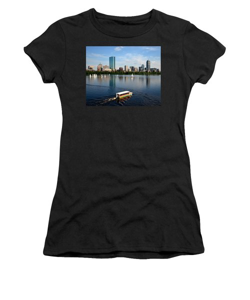 Rainbow Duck Boat On The Charles Women's T-Shirt (Athletic Fit)