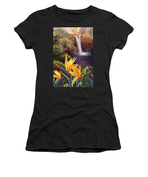 Rainbow Falls Big Island Hawaii Waterfall  Women's T-Shirt (Athletic Fit)