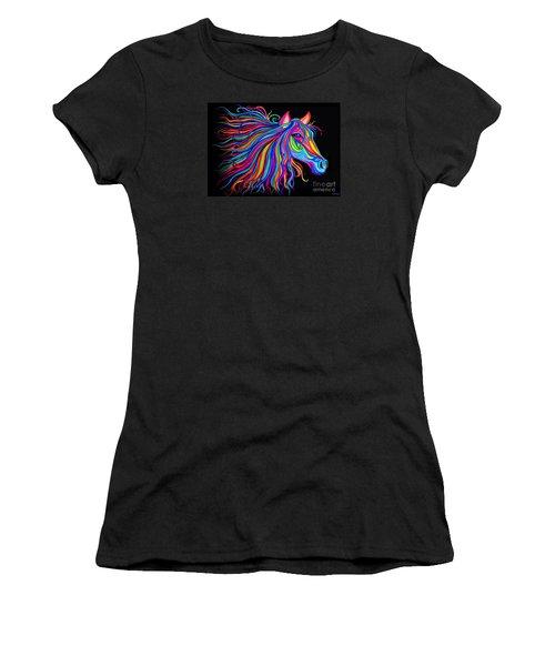 Rainbow Horse Too Women's T-Shirt (Junior Cut) by Nick Gustafson