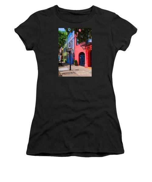 Rainbow Row Charleston Women's T-Shirt (Junior Cut) by Skip Willits