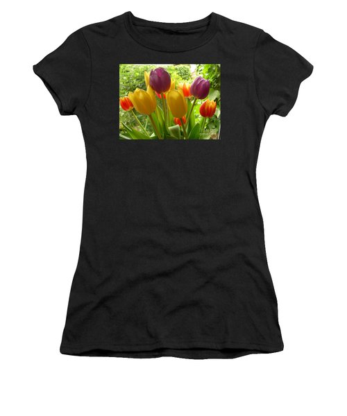 Rainbow Tulips  Women's T-Shirt (Athletic Fit)
