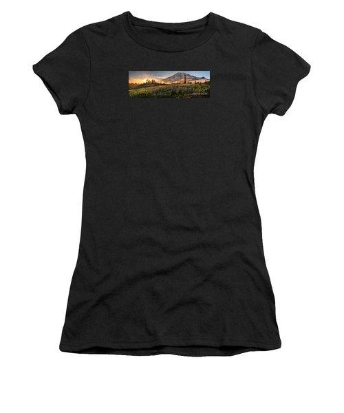 Rainier Golden Light Sunset Meadows Women's T-Shirt (Junior Cut) by Mike Reid